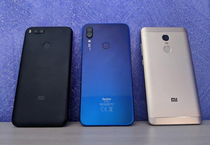 Xiaomi Mi 5X/A1 (esquerda) vs Redmi Note 7 (centro) vs Redmi Nota 4X (direita)